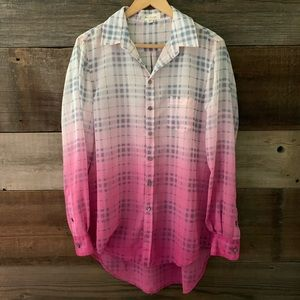 Two By Vince Camuto Purple Ombre Plaid Long Sleeve